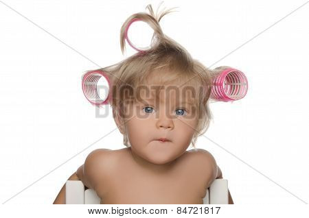Little Beautiful Kid With Hair Curlers