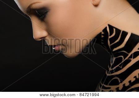 Portrait Of Beautiful Young Woman, Black Body Art