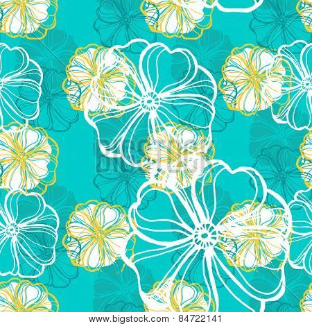 Seamless pattern with tropical Hibiscus flowers. Vector illustration.
