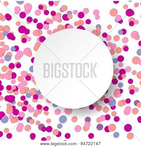 Vector illustration with pink confetti celebration background