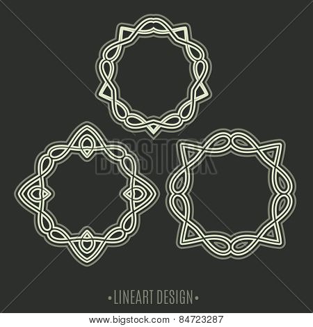 Lineart design. Set of Retro Insignias, monogram and  frames
