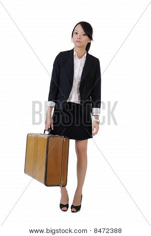 Single Business Girl Holding Old Traveling Case