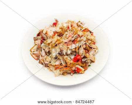 Remain Pieces Of Broken Crab Shell On Plate
