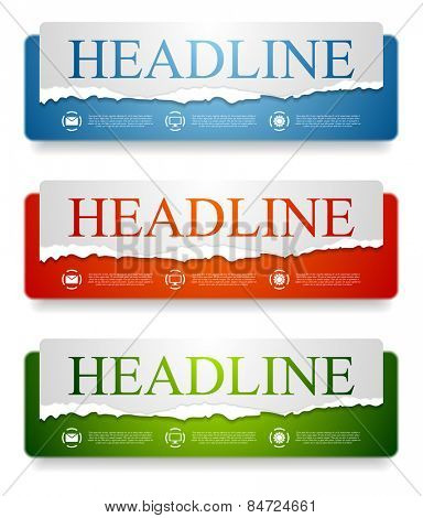 Abstract bright web headers design with ragged paper edge. Vector banners