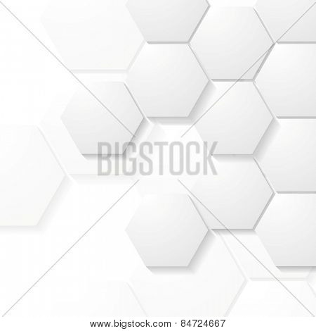 Abstract grey hexagons tech design. Vector background