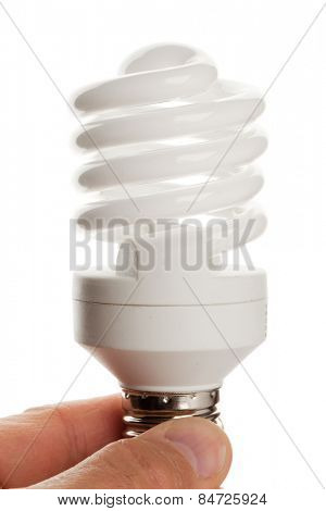 fluorescent lamp in hand isolated on white background