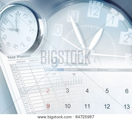 Clock faces, calendar and year planner