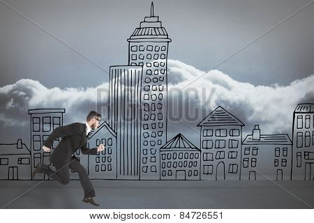 Geeky young businessman running mid air against clouds in a room