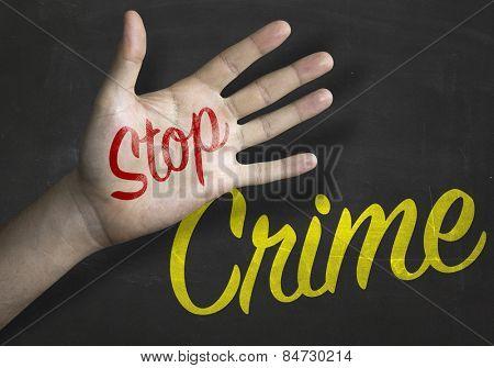 Stop Crime educacional message on blackboard