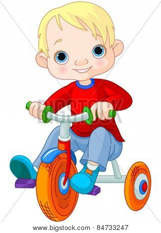 Illustration very cute boy on tricycle