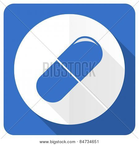 drugs blue flat icon medical sign