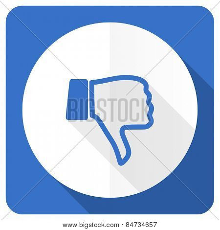 dislike blue flat icon thumb down sign