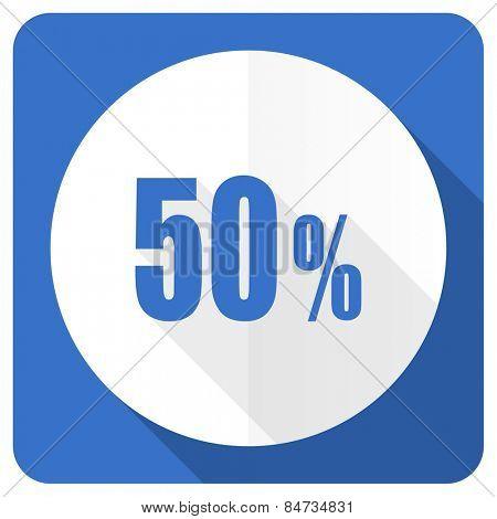 50 percent blue flat icon sale sign