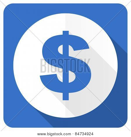 dollar blue flat icon us dollar sign
