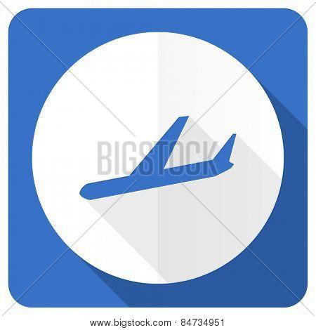 arrivals blue flat icon plane sign