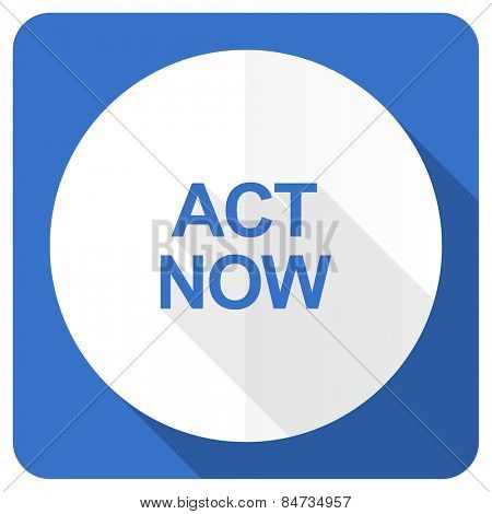 act now blue flat icon