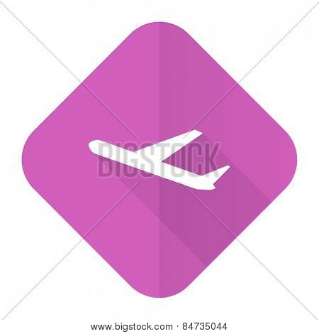 departures pink flat icon plane sign