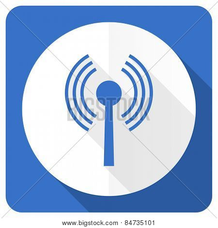 wifi blue flat icon wireless network sign