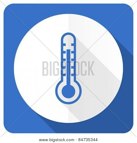 thermometer blue flat icon temperature sign