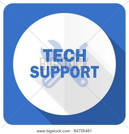 technical support blue flat icon