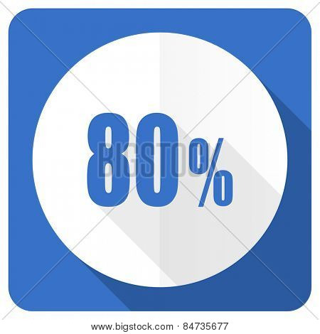 80 percent blue flat icon sale sign
