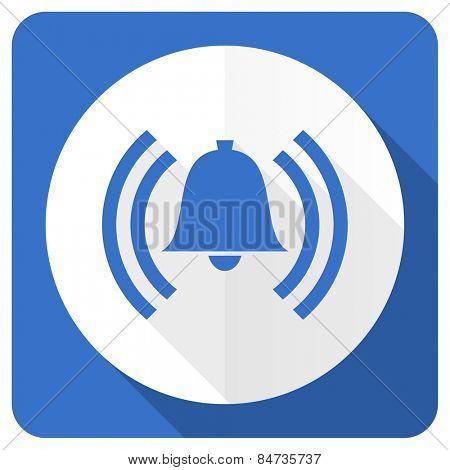alarm blue flat icon alert sign bell symbol