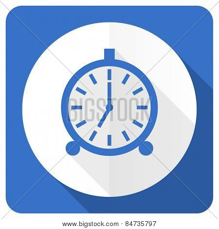 alarm blue flat icon alarm clock sign