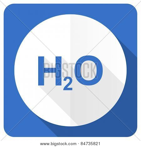 water blue flat icon h2o sign