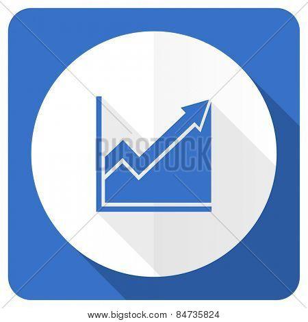 histogram blue flat icon stock sign