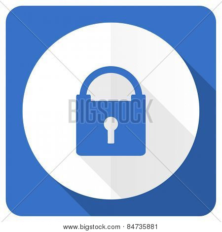 padlock blue flat icon secure sign