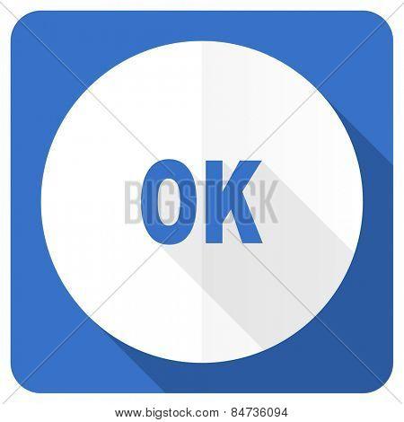 ok blue flat icon
