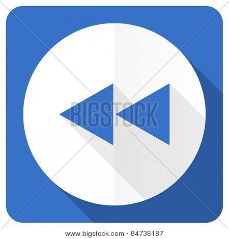 rewind blue flat icon