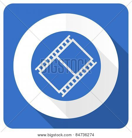 film blue flat icon movie sign cinema symbol