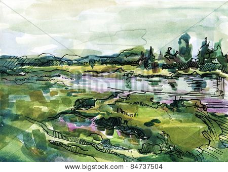 watercolor painted landscape . meadow and lake