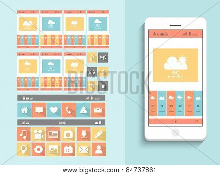 Creative mobile screen presentation with weather features, web icons, musical icons and smart phone on sky blue background.