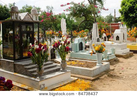 OAXACA,OAXACA,MEXICO- NOVEMBER 2, 2015: Tombs decorated with flowers in all saints day in Oaxaca, Mexico. All Saints Day is a Christian tradition that has been merged with the indigenous Mexican tradition of honoring the spirits with a graveside vigil.