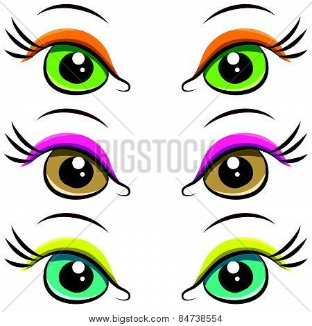 Set Of Pairs Of Eyes. Vector