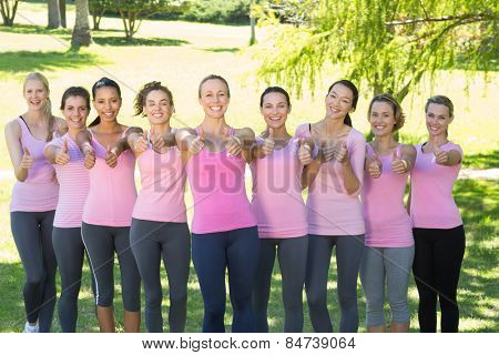 Smiling women in pink for breast cancer awareness on a sunny day