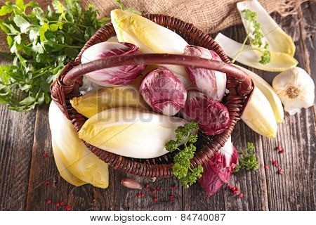 basket with raw chicory
