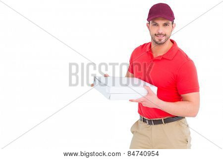 Delivery man giving pizza boxes on white background