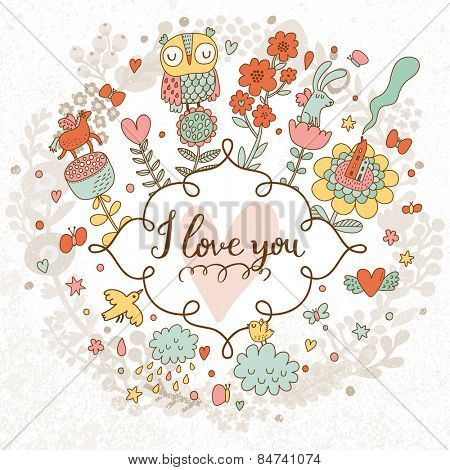 I love you - concept card in bright stylish colors. Sweet card made of romantic signs: hearts, flowers, rabbits,house, clouds, butterflies, horse and bird