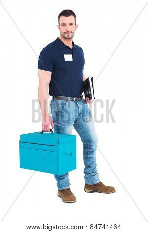 Handyman with clipboard and toolbox on white background
