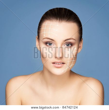 Close-up portrait of young, beautiful and healthy woman ready for plastic surgery treatment (collage with arrows)