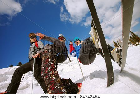 Young guys having fun at ski resort