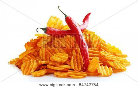 Delicious potato chips with  chili pepper isolated on white