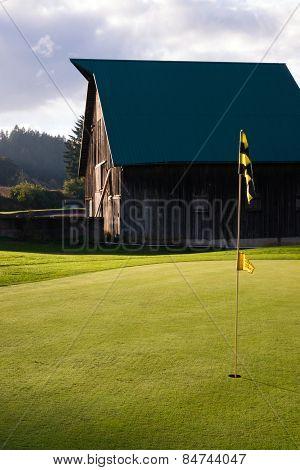 Cloudy Sky Over Rural Barn County Golf Course