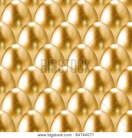 Seamless gold eggs pattern.