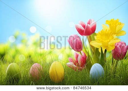 Outdoor easter eggs and spring flowers