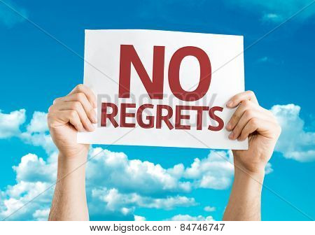 No Regrets card with sky background
