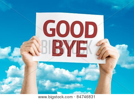 Goodbye card with sky background